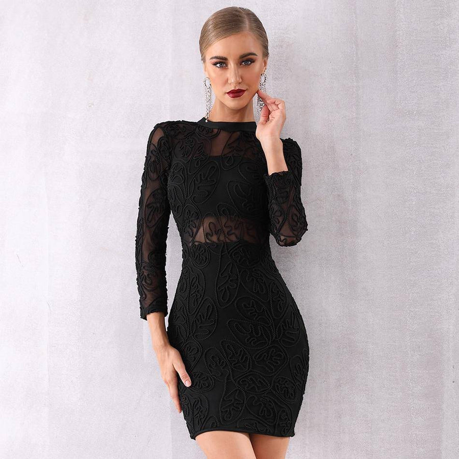 Sexy Black Long Sleeve Lace Club Dress - Couture Look