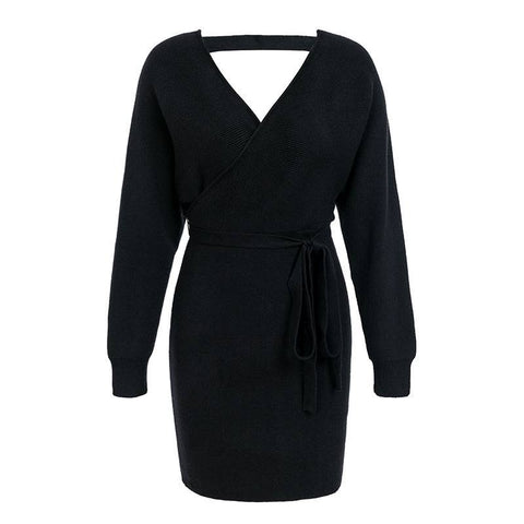 Celestial Beauty Knitted Wrap Dress - Couture Look