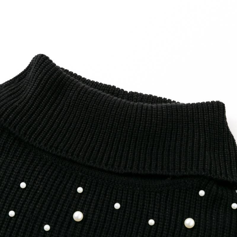 Organic Style Knitted Cloak in Black - Couture Look