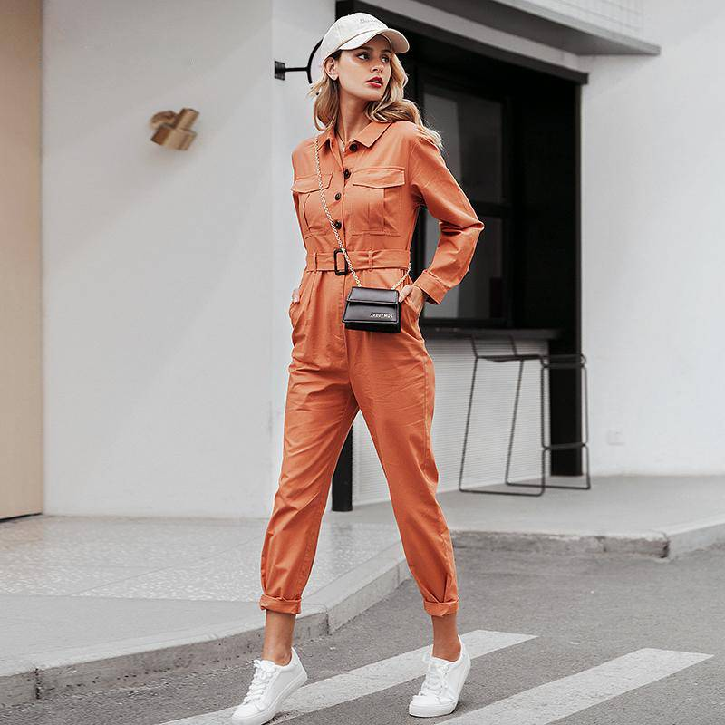 Slay With Me Orange Tropics Cargo Jumpsuit - Couture Look