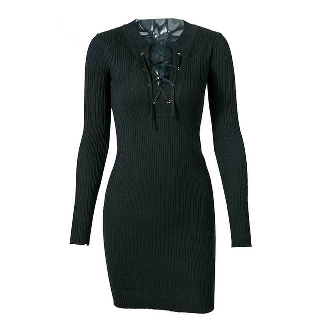Coordinated Cami Lace-Up Knitted Mini Dress - Couture Look