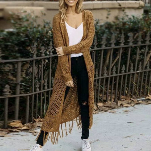 Warm Nights Long Tassel Cardigan - Couture Look