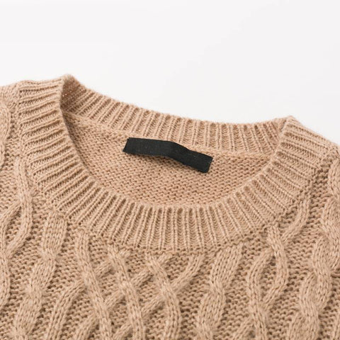 Ribbed and Rad Khaki Knitted Sweater - Couture Look