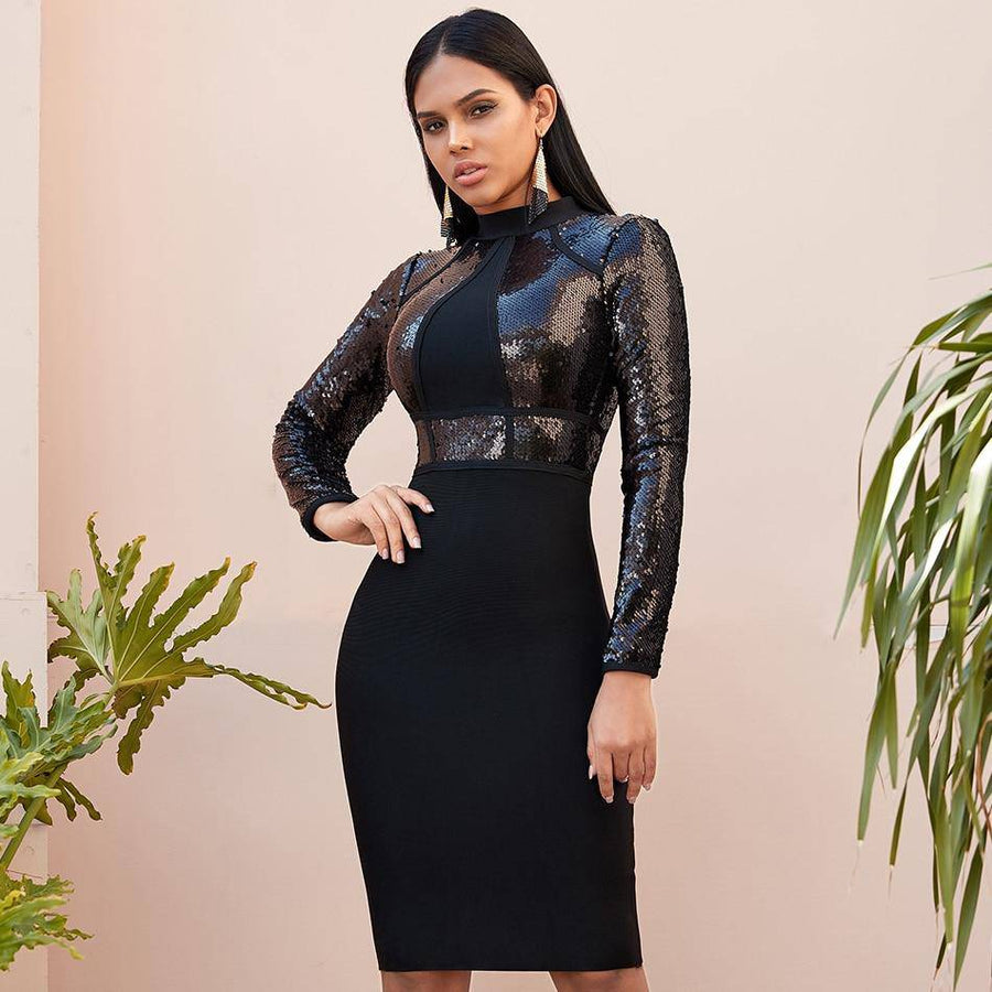 Black Glam Sequined Bodycon Dress - Couture Look