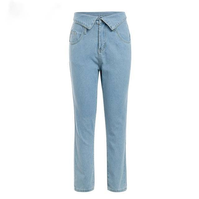 Fold Over Light Denim Blue  Pants - Couture Look