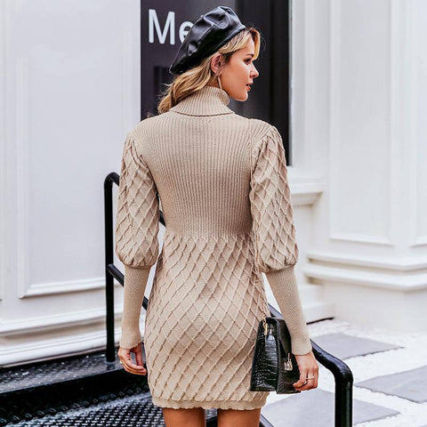 Feeling Girly Turtleneck  Sweater Dress - Couture Look