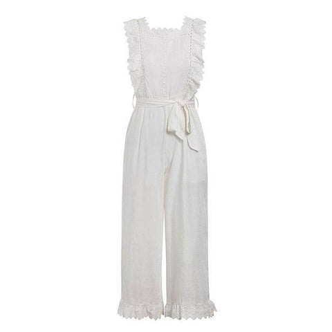 Grandiose Hollow Out Sashes Long Jumpsuit