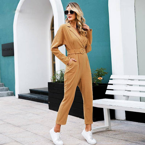 Image of Brunette Bed of Roses Sash Belt Long Sleeve Jumpsuits