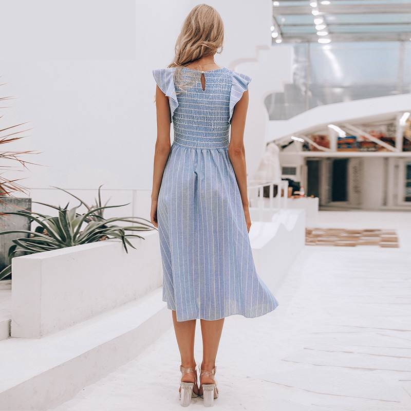 Striped Cotton Candy Elegant Summer Dress - Couture Look