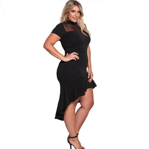 Image of Sweet Mystery Asymmetrical Plus Size Dress - Couture Look