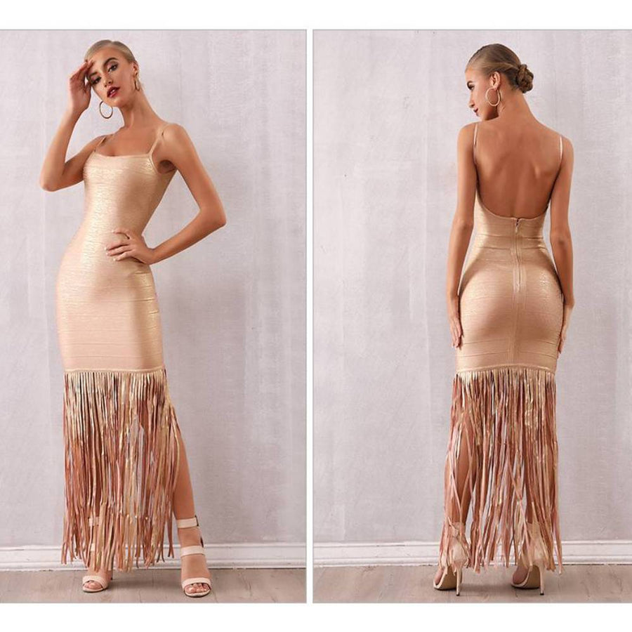 Maxi Tassels Evening Party Dress - Couture Look