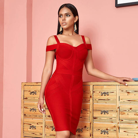 Image of Bodacious Off Shoulder Bodycon Bandage Dress