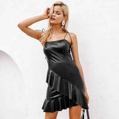 Image of Funky Bella Black Leather Bodycon - Couture Look