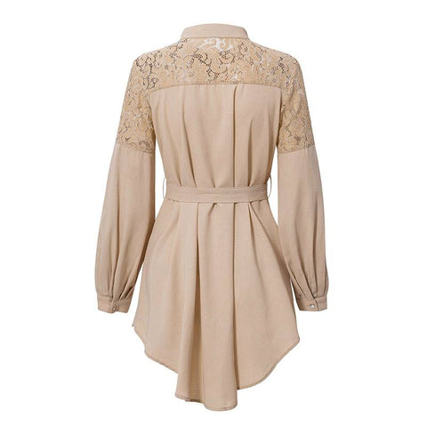 Romantic Resonance Apricot Long-Sleeved Office Dress - Couture Look