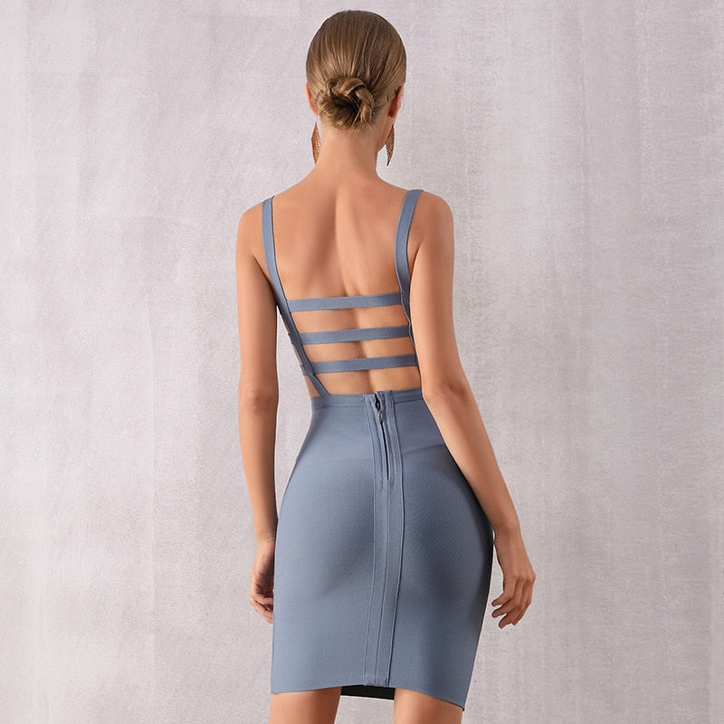 Midsummer Blossom Gray Bodycon Bandage Dress - Couture Look