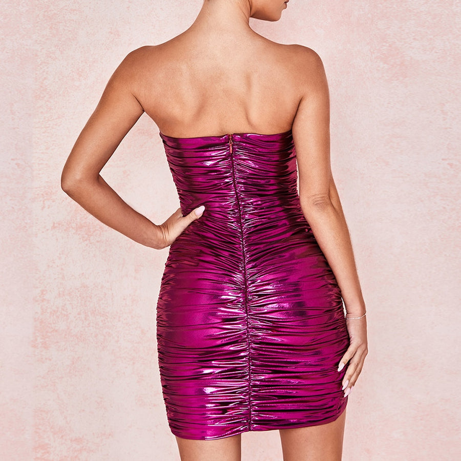 Metallic Violet Off Shoulder Ruffle Dress - Couture Look