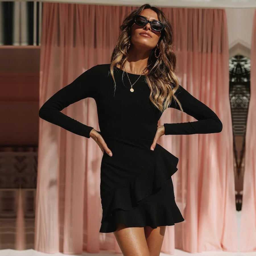 Sexy Long Sleeve Black Ruffles Mini Dress - Couture Look