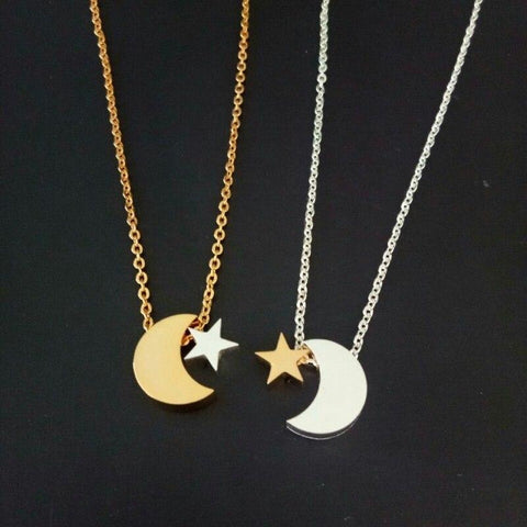 Image of Crescent Moon And  Star Pendant Necklace