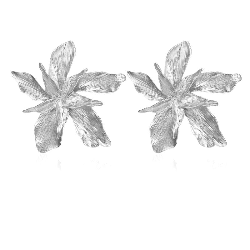 Rosemarie Huge Metal Flower Drop Earrings - Couture Look