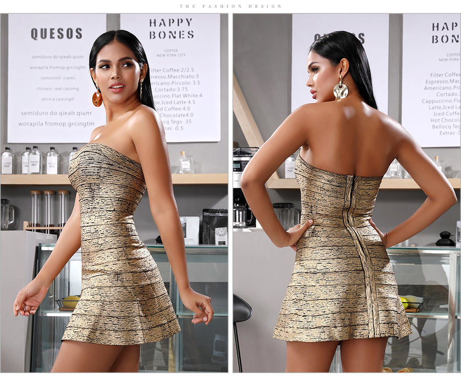 Fit And Flares Gold A-Line Mini Dress - Couture Look