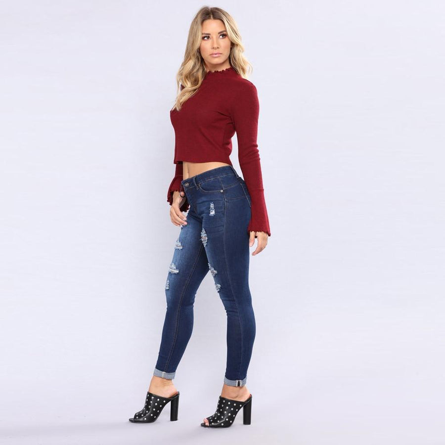 Relaxed High Waisted Ripped Skinny Jeans - Couture Look