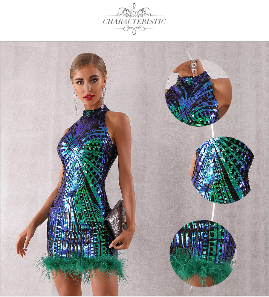 Brighter Than Thou Feathered Sequin Dress - Couture Look