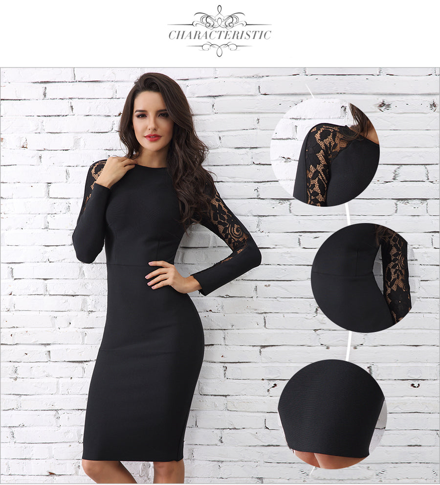 Elegant Black Floral Lace Bodycon Dress - Couture Look