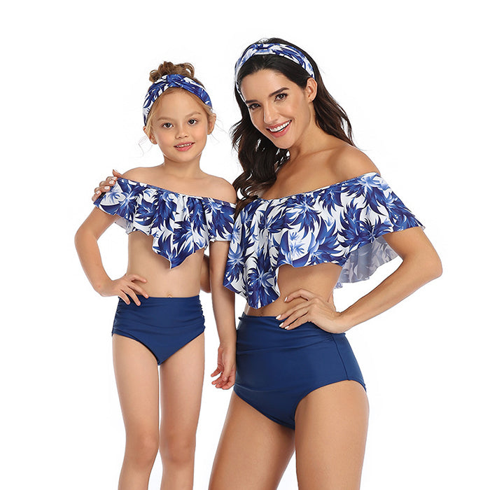 Chic Asymmetrical Mother & Daughter Swimwear
