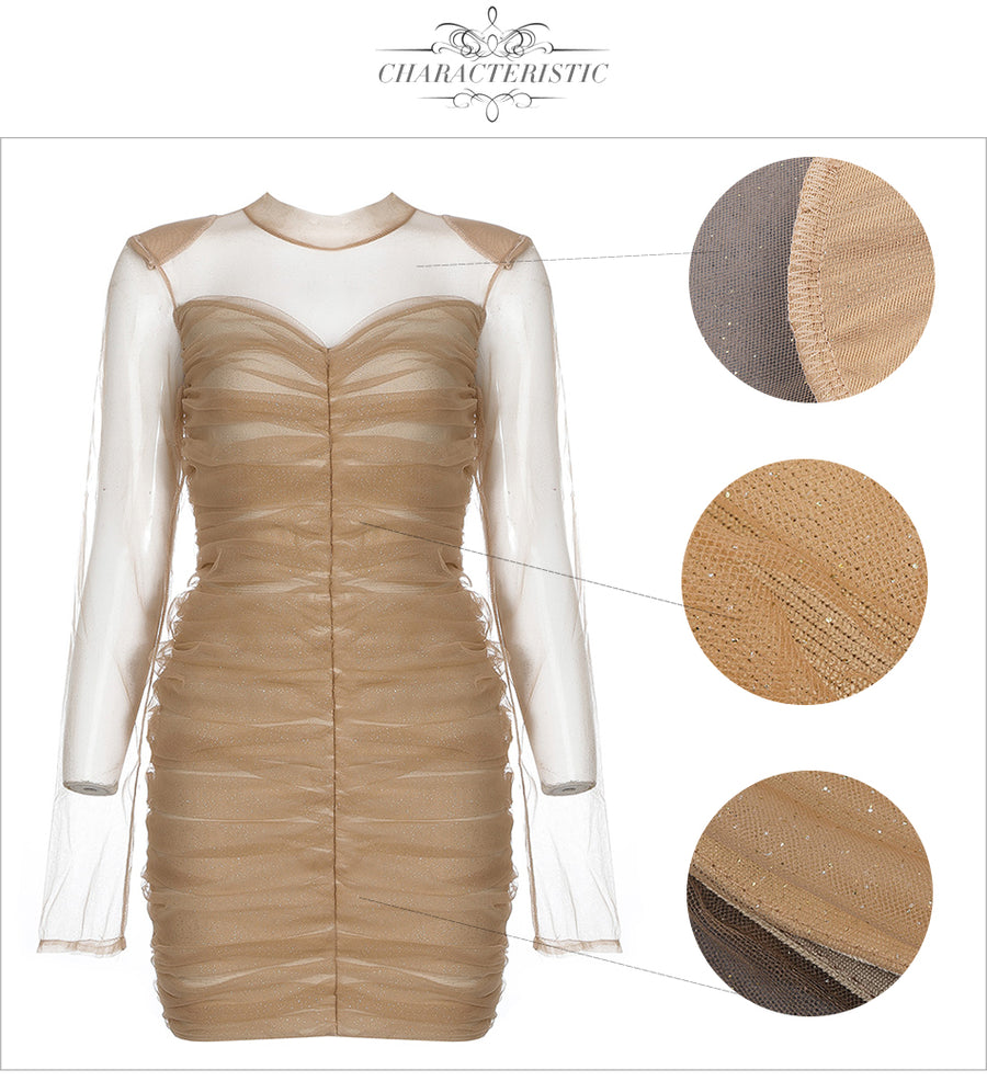 Mini Mesh Wrinkled Bandage Dress - Couture Look