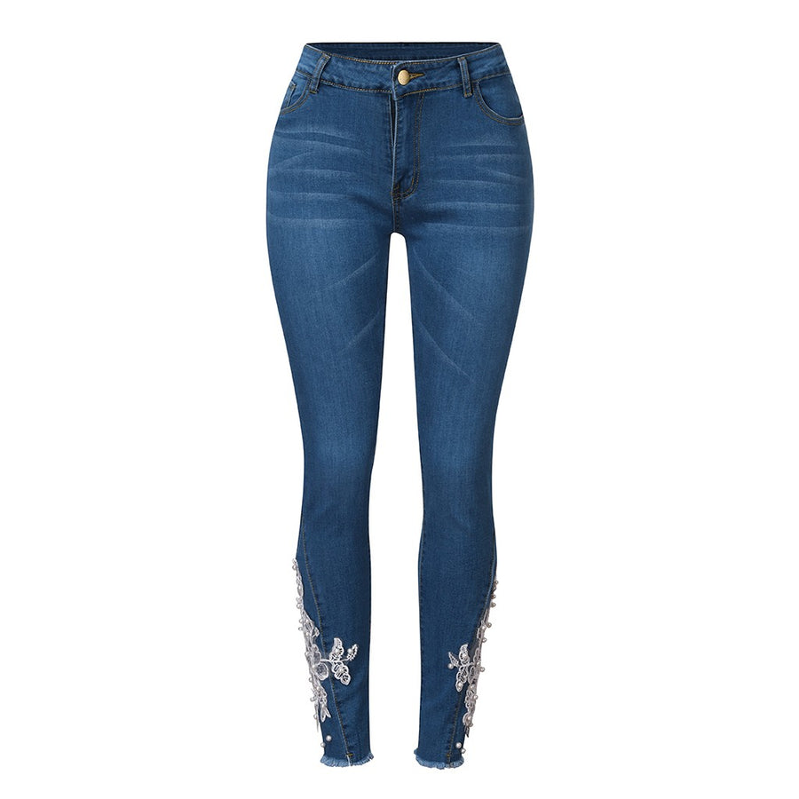 Patchwork Lace High Waisted Skinny Jeans - Couture Look