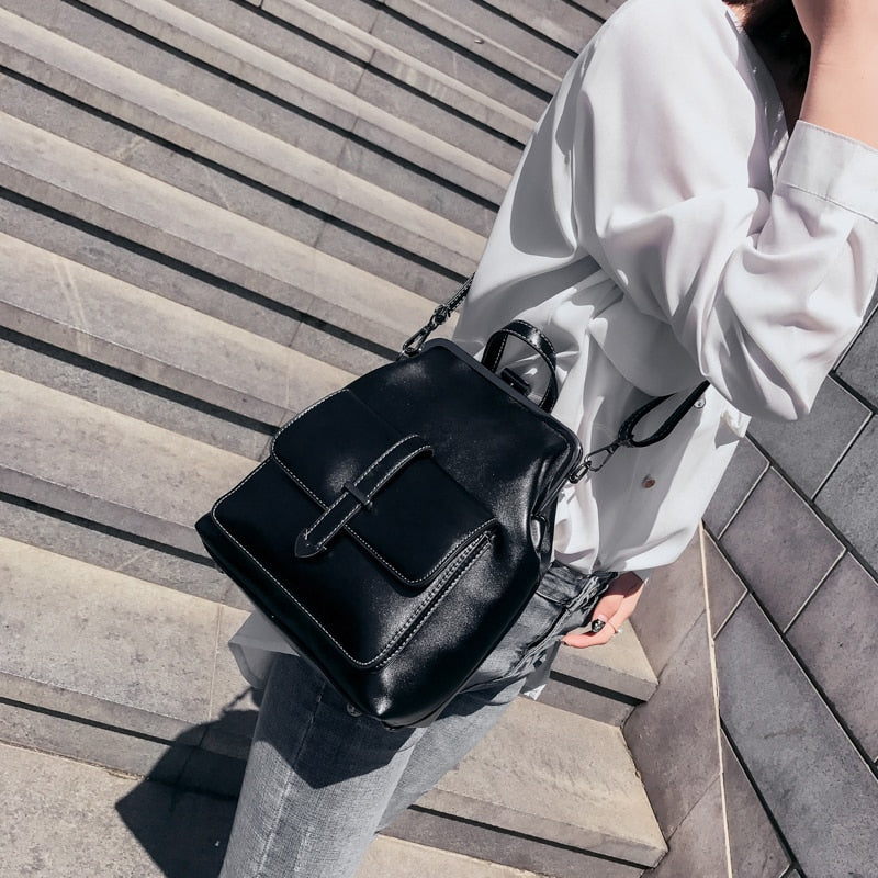 On The Go Small Leather Backpack - Couture Look