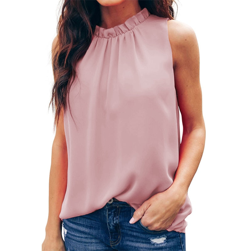 Suitable Casual Ruffle Trim Tank Top