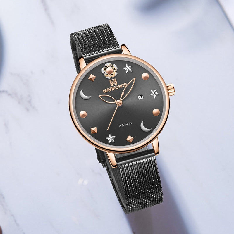 Starry Starry Night  Leather Strap Calendar Watch - Couture Look