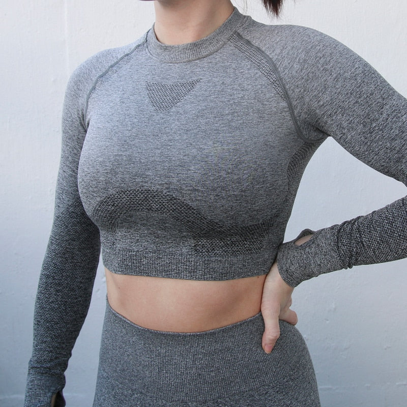 Ombre Stylish Long Sleeve Seamless Sports Crop Top - Couture Look