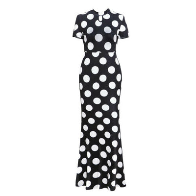 Classic Polka Dot Short Sleeve Maxi Dress