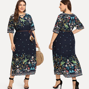 Adele Navy Blue Floral Plus Size Dress