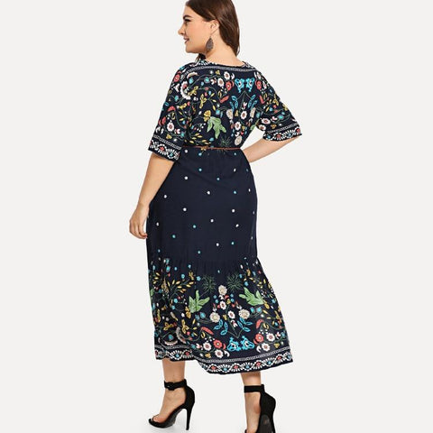 Adele Navy Blue Floral Plus Size Dress - Couture Look