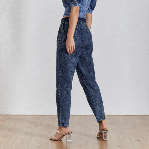 Irie Rivet High Waist Blue Denim Jeans - Couture Look