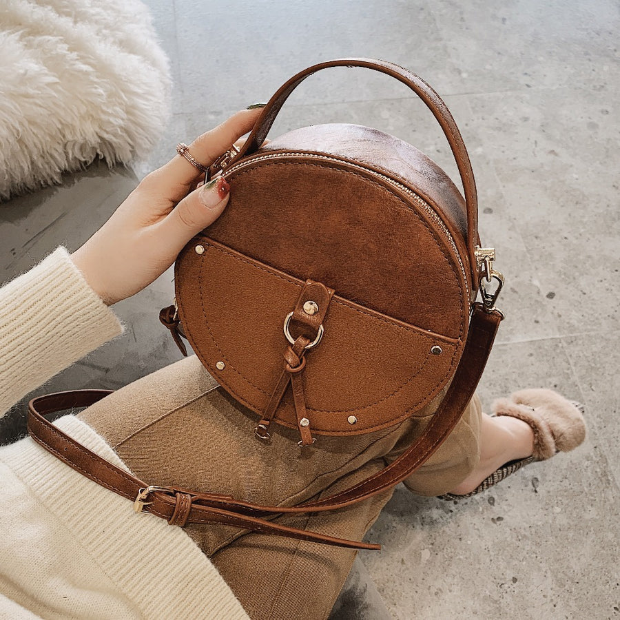 Vintage Scrub Leather Round Handbag - Couture Look