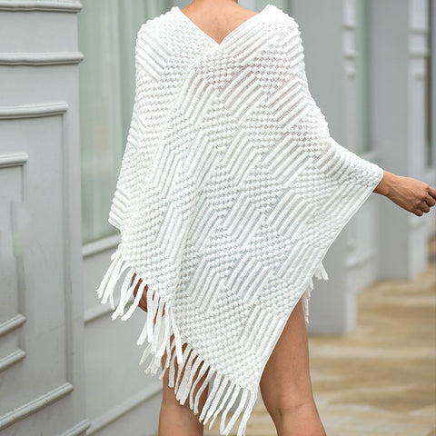 Winter Wonderland Cape Overcoat Knitted Sweater - Couture Look