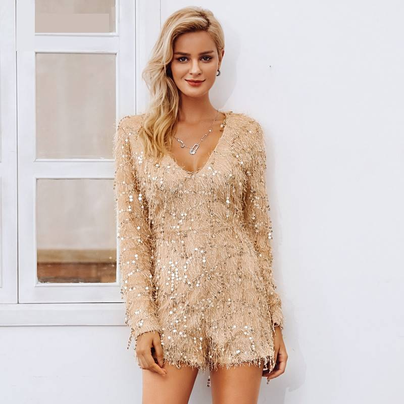 Party All Night Champagne V-Neck Longsleeve Romper - Couture Look