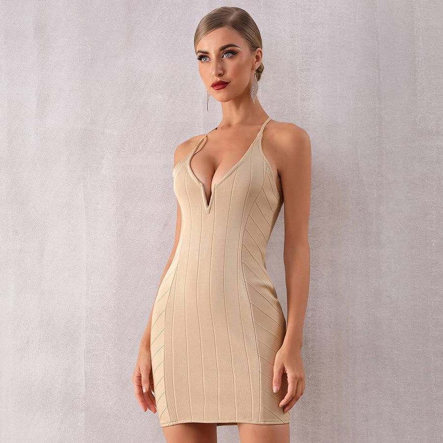 Party Girl Apricot Bodycon Party Dress - Couture Look