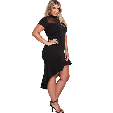 Sweet Mystery Asymmetrical Plus Size Dress - Couture Look