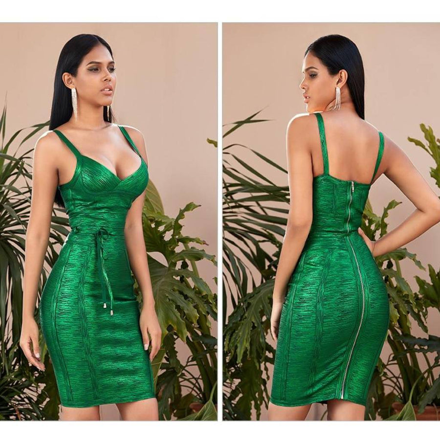 Green Forest Bandage Dress - Couture Look