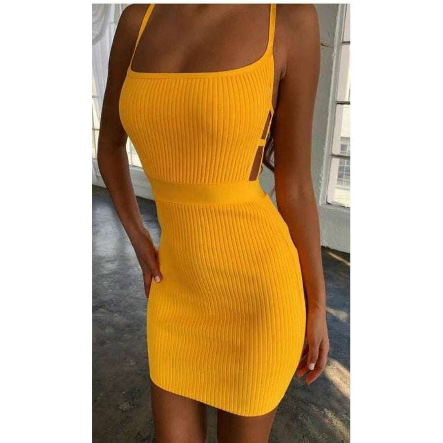 Class And Flash Spaghetti  Strap  Bodycon Dress - Couture Look
