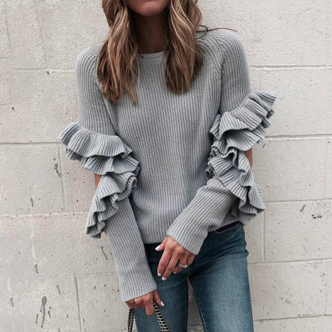 Image of Ruffled Crazy Loose Pullovers - Couture Look