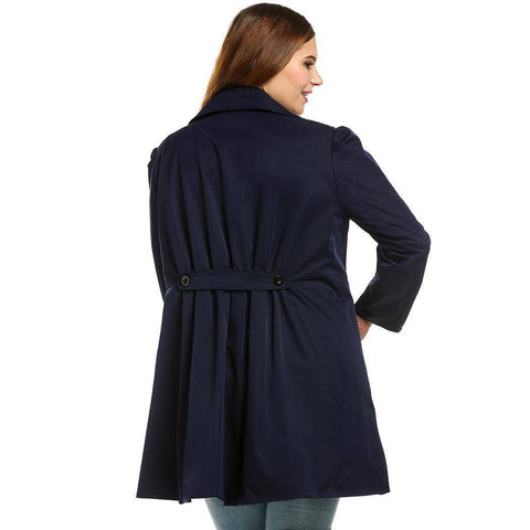 Get Up And Go Long Sleeve Plus Size Winter Coat - Couture Look