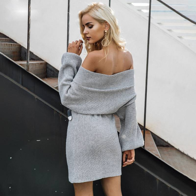 Holly Gray Off Shoulder Sweater Dress - Couture Look