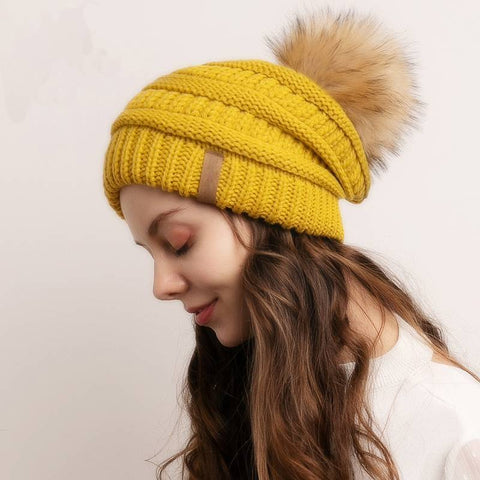 Image of Chill Cozy Knitted Pompom Slouchy Beanie Hat - Couture Look