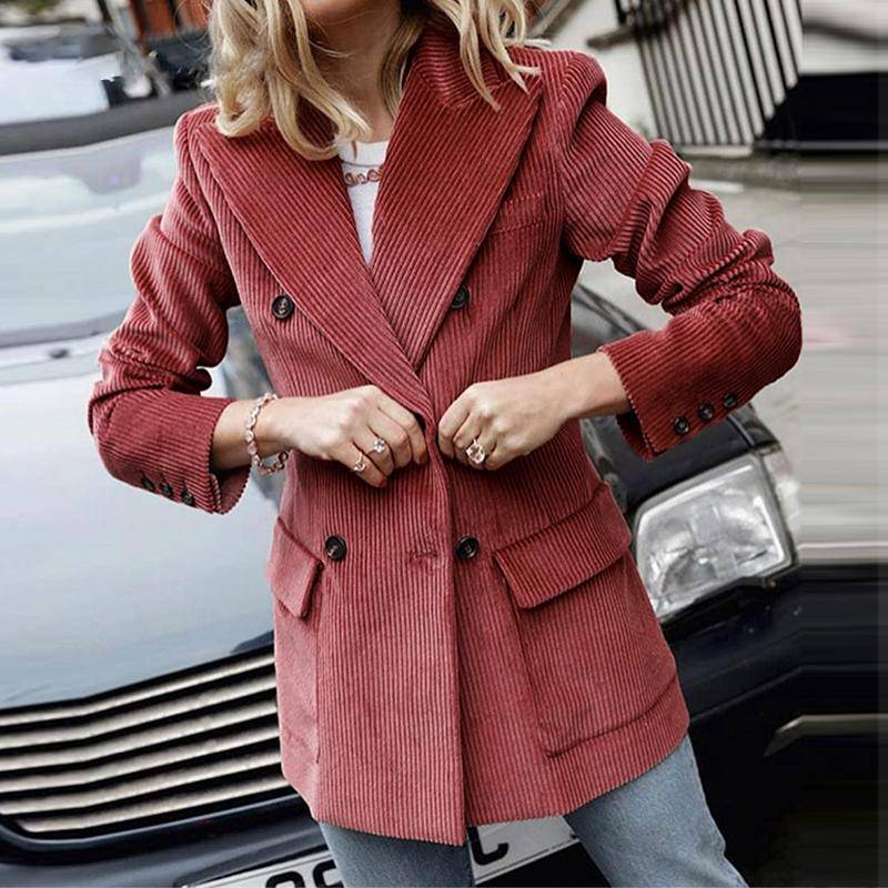 Oh Lalala Slim Fit Corduroy Coat - Couture Look